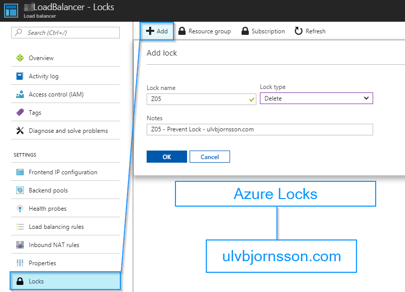 azure locks loadbalancer