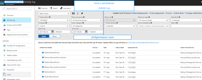 Azure Load Balancer Activity Log